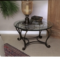 Florence Coffee Table with Brass Medallions & Beveled Glass Home Decor