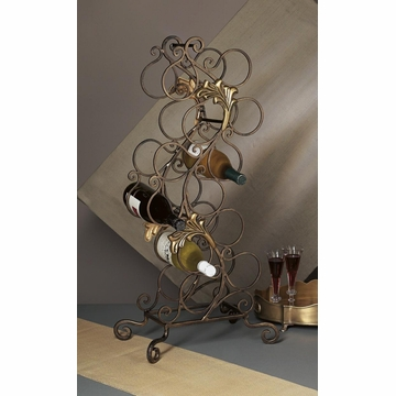 Dessau Home Florence Wine Rack 12 Bottles Bronze Iron with Brass Home Decor