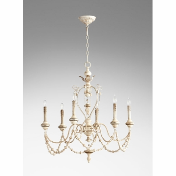 Florine Rustic White 6 Light Chandelier by Cyan Design