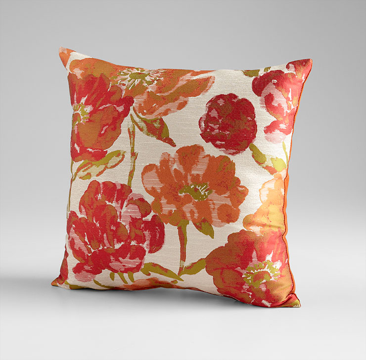 Flower Power Decorative Orange Pillow by Cyan Design