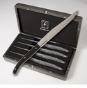 Fortessa Stainless Steel Provencal Black Handle Steak Knife 4 Piece set in box