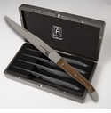 Fortessa Stainless Steel Provencal Non Serrated Light Wood Steak Knife 4 Piece Boxed Set