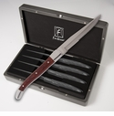Fortessa Stainless Steel Provencal Serrated Dark Wood Steak Knife 4 Piece Boxed Set