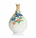 Franz Collection Cerulean warblers on Coffee Tree Mid Size Vase