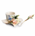 Franz Collection Fluttering Beauty Flower and Butterfly Cup & Saucer