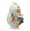 "Franz Collection ""Fluttering Beauty"" Flower and Butterfly Porcelain Sugar Jar"