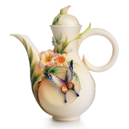 franz collection fluttering beauty flower and butterfly teapot, Beautiful flower
