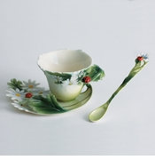 Franz Collection Ladybug Cup, Saucer & Spoon Set