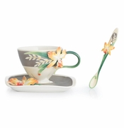 Franz Collection Magnificent Cattleya Orchid Cup, Saucer & Spoon set