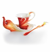 Franz Collection Phoenician Flight Bird Porcelain Cup, Saucer & Spoon Set