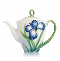Franz Collection Porcelain Eloquent Iris Flower Teapot