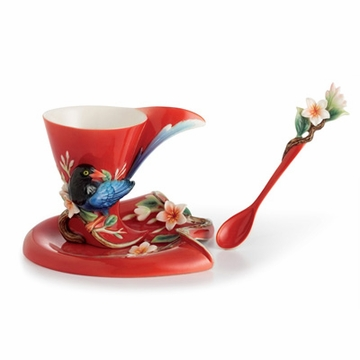 Franz Collection Porcelain Joyful Magpie Cup, Saucer & Spoon Set