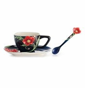 Franz Collection Porcelain The Serenity Poppy Flower Cup, Saucer & Spoon Set
