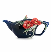 Franz Collection Porcelain The Serenity Poppy Flower Teapot