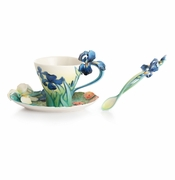 Franz Collection Porcelain Van Gogh Iris Cup & Saucer Set With Spoon
