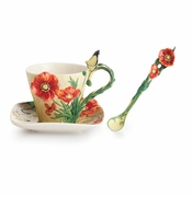 Franz Collection Porcelain Van Gogh Poppy Flower Cup & Saucer Set With Spoon