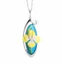 Franz Collection Yellow Iris Rhodium plated brass & porcelain necklace