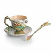 "Franz Kathy Ireland ""The Southern Splendor"" Swan Cup, Saucer & Spoon Set"