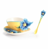 Franz Porcelain Blue Poppy Cup, Saucer, And Spoon Set
