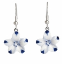 Franz Porcelain Collection Baby Five Spot Flower Design Sculptured Porcelain Earrings Pierced