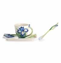 Franz Porcelain Collection Eloquent Iris Flower Cup, Saucer & Spoon Set