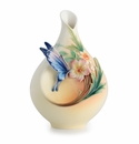 Franz Porcelain Collection Fluttering Beauty Flower And Butterfly Sculptured Porcelain Small Vase