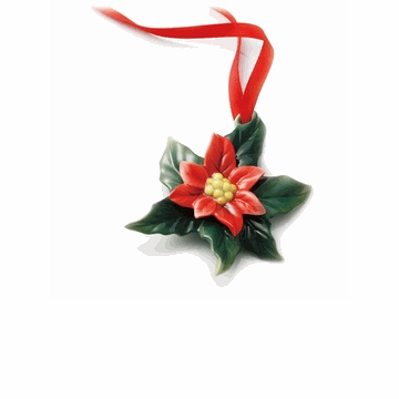 Franz Porcelain Collection Holiday Classic Poinsettia Flower Design Sculptured Porcelain Ornament