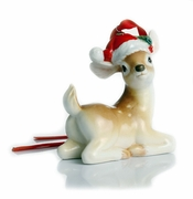 Franz Porcelain Collection Holiday Greetings Sculptured Porcelain Christmas Deer Ornament