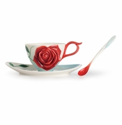 Franz Porcelain Collection Romance Of The Rose Cup, Saucer and Spoon Set