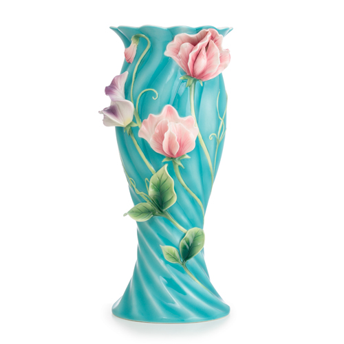 Franz Porcelain Collection Sweet Pea Design Sculptured Porcelain