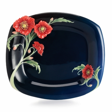 Franz Porcelain Collection The Serenity Poppy Flower Dessert Plate