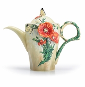 Franz Porcelain Collection Van Gogh Poppy Flower Teapot