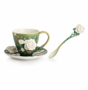 Franz Porcelain Collection Van Gogh White Roses Flower Spoon
