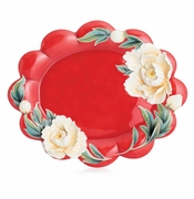 "Franz Porcelain Collection ""Venice"" Peony Design Sculptured Porcelain Large Tray"