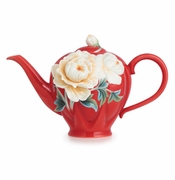 "Franz Porcelain Collection ""Venice"" Peony Design Sculptured Porcelain Teapot"