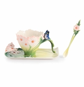 Franz Porcelain Cosmos of Color Butterfly Cup, Saucer, And Spoon Set