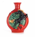 Franz Porcelain Dragon And Steed Vase W/ Wooden Base (Limited Edition 1,288)