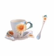 Franz Porcelain Four Seasons - Chrysanthemum Cup, Saucer & Spoon Set