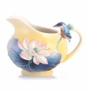 Franz Porcelain Lotus & Kingfisher Creamer
