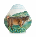 Franz Porcelain Realm of Dreams Landscape With Cattle Sculptured Porcelain Mid Size Vase (Inspired By Henri Rousseau)
