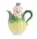 Franz Sculptured Porcelain Cosmos of Color Butterfly Teapot