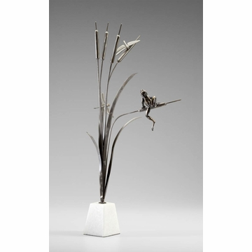 Frog And Dragon Fly Iron Sculpture by Cyan Design
