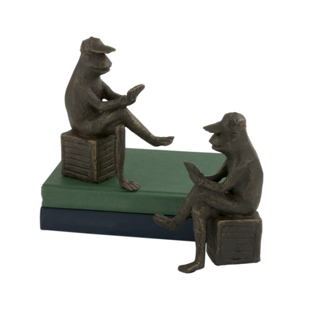 Frog Card Player Bronze Bookend Pair Andrea By Sadek 30