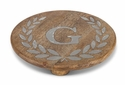"GG Collection 10"" Round Mango Wood & Metal Trivet E"