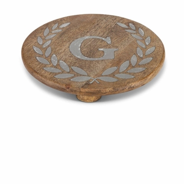 GG Collection 10'' Round Mango Wood & Metal Trivet W