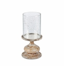 GG Collection 16.75H Wooden Candle Holder With Foil Glass