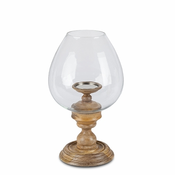 GG Collection 16H Wooden Candle Holder With Glass