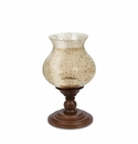 GG Collection 17H Wooden Candle Holder With Foil Glass