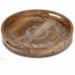 "GG Collection 20"" Round Mango Wood & Metal Tray A"