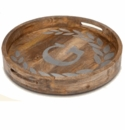 """GG Collection 20"""" Round Mango Wood & Metal Tray A"""